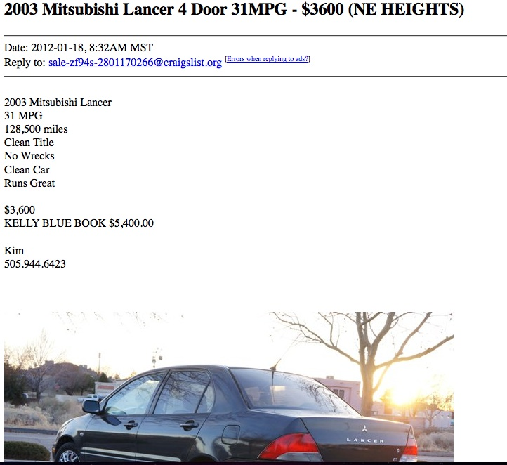 An In Depth Review Of How To Buy A Car Under 4000 On Craigslist